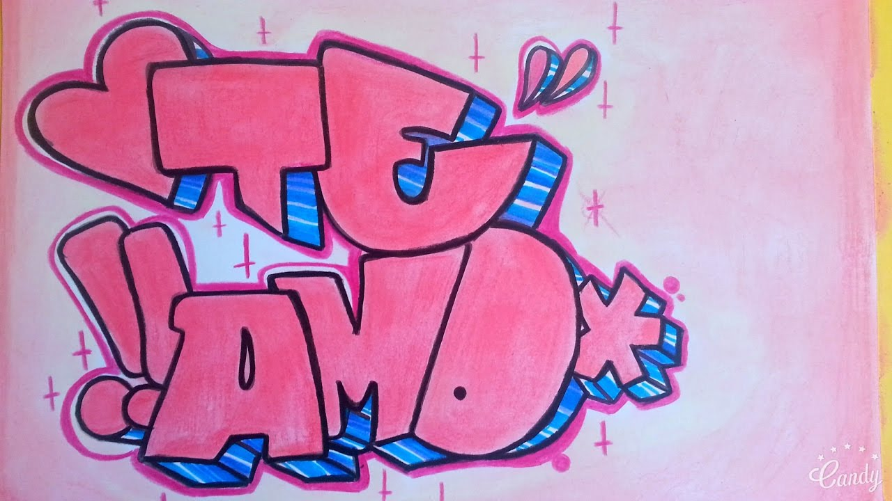 COMO HACER GRAFFITI EN PAPEL TE AMO  FER ART  YouTube