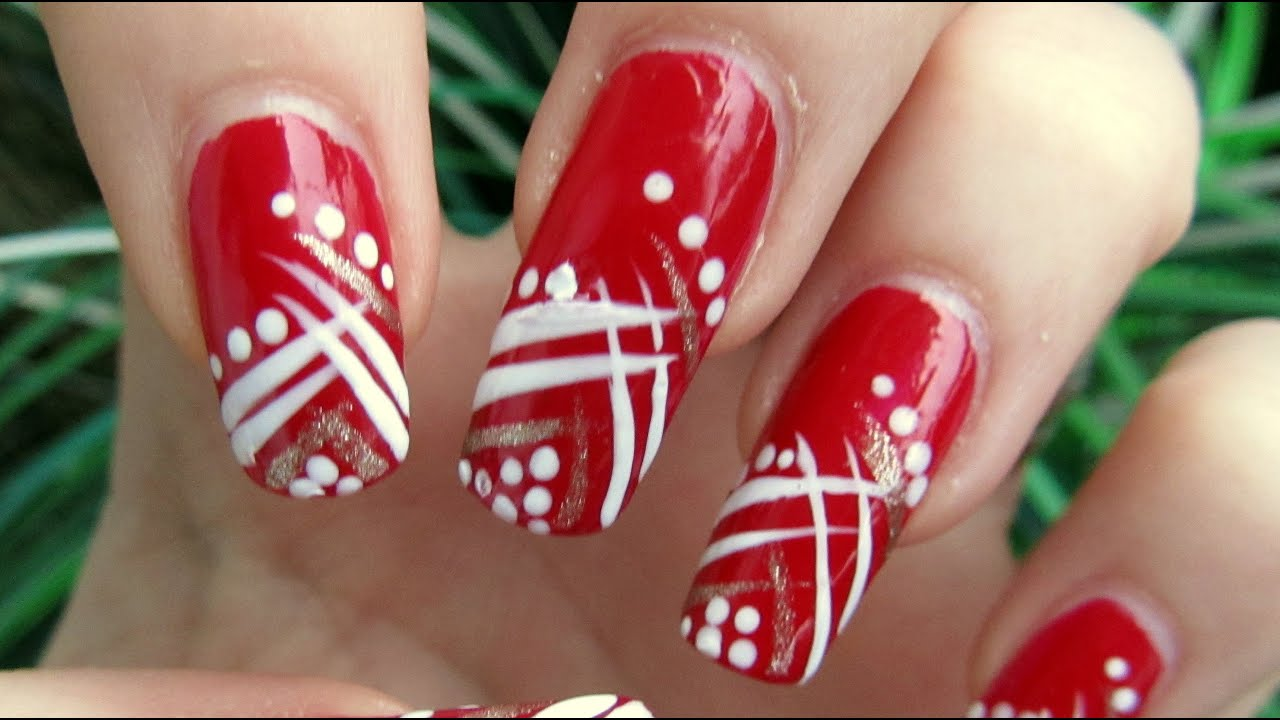 Easy Red, Gold and White Abstract Design Nail Art Tutorial Homemade ...