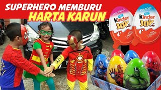 Superhero Mencari Harta Karun Kinderjoy Surprise Eggs | Treasure Hunt Game