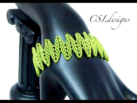 01e15deb93d4 Alternating leaves micro macrame bracelet