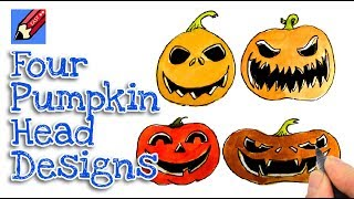 How to draw 4 different Pumpkin Heads Real Easy