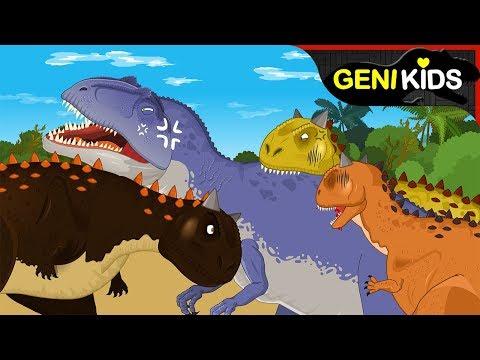 [공룡대전] 백악기 시대 공룡 카르노타우루스 vs 기가노토사우루스! 사냥의 기술 ★지니키즈