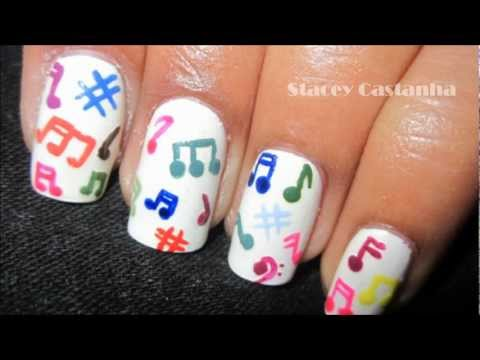 Easiest Music Note Nail Art - Music Maker Nail Art - Colorful Rasta Nails Stick People Design