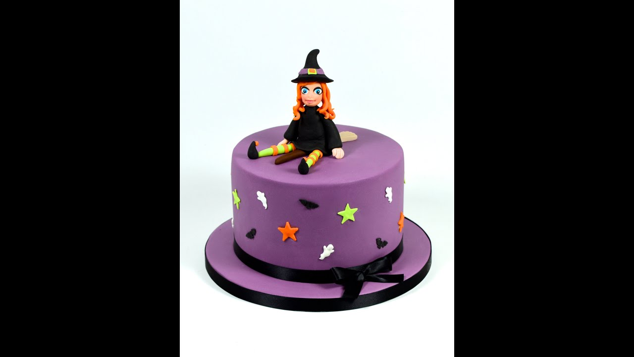 how to make a halloween witch novelty cake decorating fondant tutorial youtube - Halloween Decorated Cakes