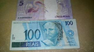 cedulas com as iniciais aa de 5 reais e 100 reais rara