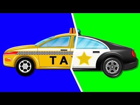 Police Car And Taxi Garage Car Cartoon Video For Kids