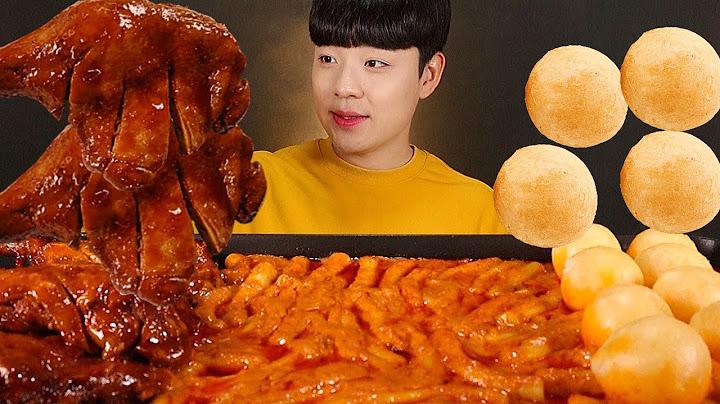 신전 로제떡볶이 고구마 치즈볼 자메이카통다리 먹방 ROSE TTEOKBOKKI CHEESEBALL SPICY CHICKEN ASMR MUKBANG トッポッキ チキン ไก่ทอด