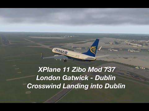 [XPlane 11] ZIBO Mod 737 London Gatwick to Dublin | Crosswind & Sightseeing Landing into Dublin