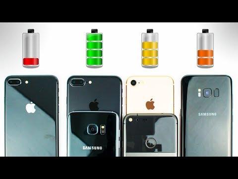 iPhone 8 vs Galaxy S8 vs iPhone 7 vs Galaxy S7 vs Pixel - BATTERY DRAIN TEST!