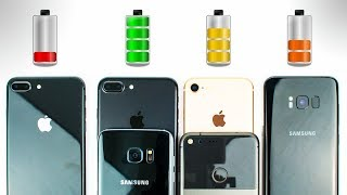 iPhone 8 vs Galaxy S8 vs iPhone 7 vs Galaxy S7 vs Pixel - BATTERY DRAIN TEST!