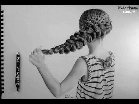 drawing hair braids speed drawing with pencil رسم الشعر بالرصاص