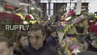 Russia  Drone footage captures bustling Moscow flower market on Women's Day