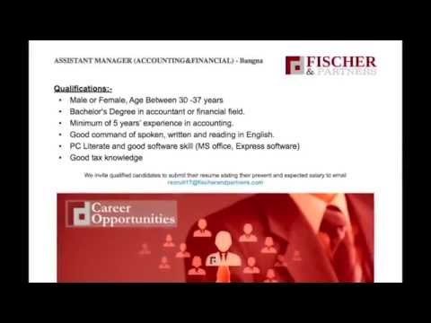 Fischer & Partners Recruitment Agency - Bangkok Thailand - ASSISTANT MANAGER