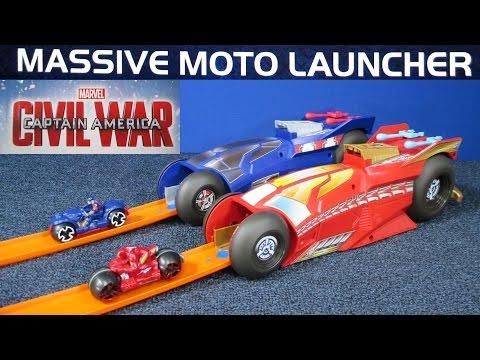 Hot Wheels Massive Moto Launcher Marvel Captain America Civil War Iron Man