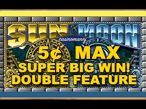 5¢ - *SUPER BIG WIN* - SUN AND MOON SLOT - DOUBLE FEATURE! - Slot Machine Bonus - 동영상