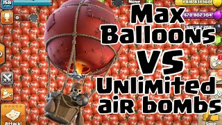 Max Balloons Vs Unlimited Max Air Bombs | Clash of clans |Clash of clans private server| wolf gaming