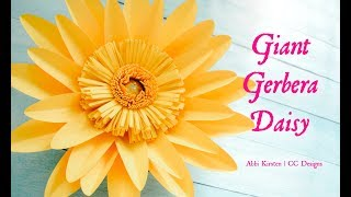 Giant Gerbera Daisy Paper Flower Template and Tutorial
