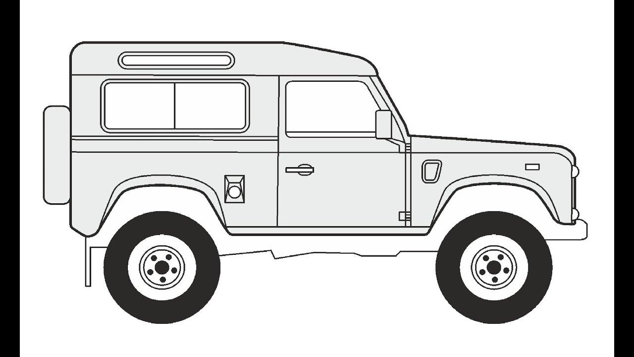 How to Draw a Land Rover Defender 90 / Как нарисовать Land Rover ...