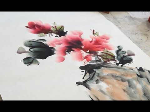 Traditional Chinese painting : How To Paint Purple Peony