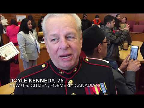 Lance Cpl. Doyle Kennedy, 75, new U.S. citizen at Erie ceremony