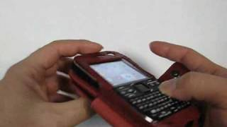 Pdair Leather Case For Nokia E72 - Book Type (red/crocodile Pattern)