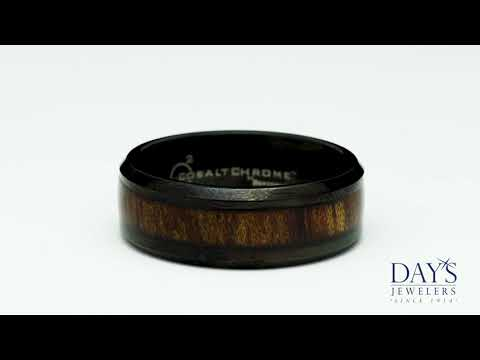 Benchmark Black Cobalt Chrome with Wood Inlay Wedding Band (8mm)