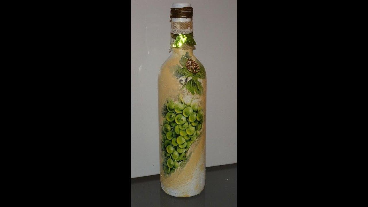 botella de vino decorada con servilleta youtube