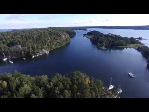 Ägnö on the Stockholm archipelago of Sweden. Aerial video from a Phantom 3 Pro UAV drone 4K UHD