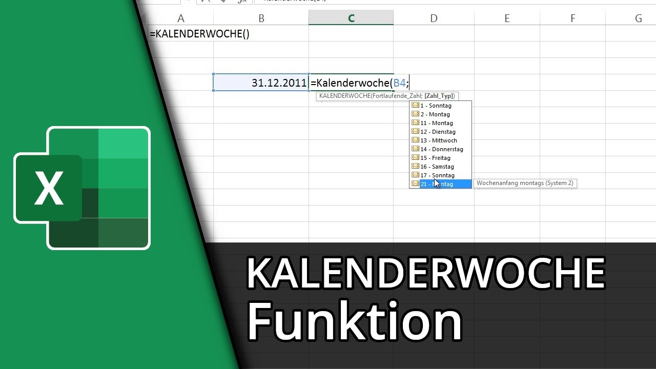Excel-Funktionen #28 | =KALENDERWOCHE() [Deutsch/HD] - YouTube