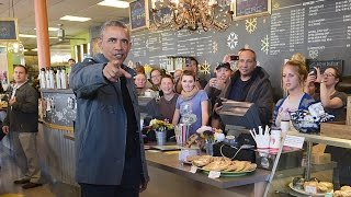 US President Barack Obama buys all the cinnamon buns at Alaska cafe