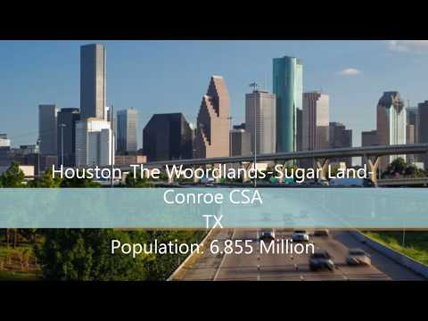 The Top 10 Most populous U.S Combined Statistical Areas (CSAS)