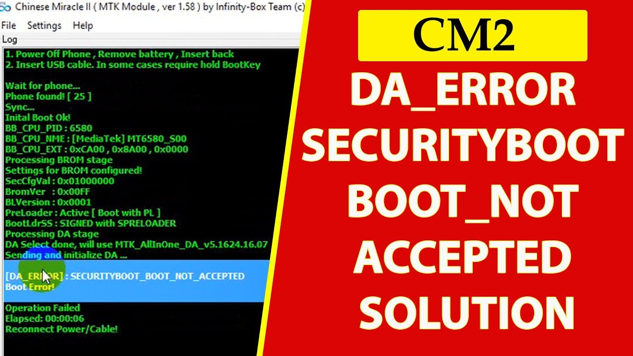 Cm2 MTK Android Securityboot_boot_not_accepted Boot Error Fix File Frp And  Read Solution