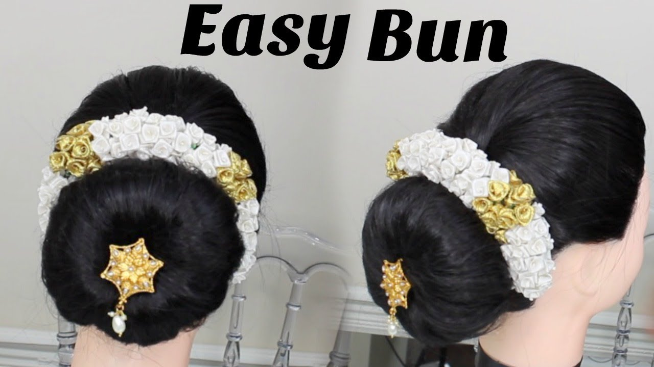 simple updo bun in tamil : hairstyle for beginners