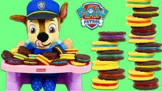 Paw Patrol Baby Chase Plays Cookie Color Matching Game!
