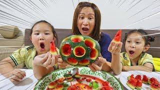 แตงโมเป็นรู !!! ทำไอติมแตงโม ผลไม้แท้100%