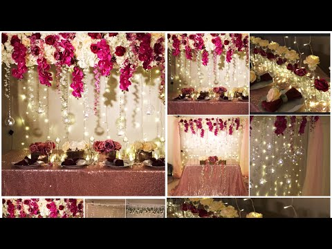 DIY- long table and backdrop decor DIY - wedding decor DIY- flower panel decoration
