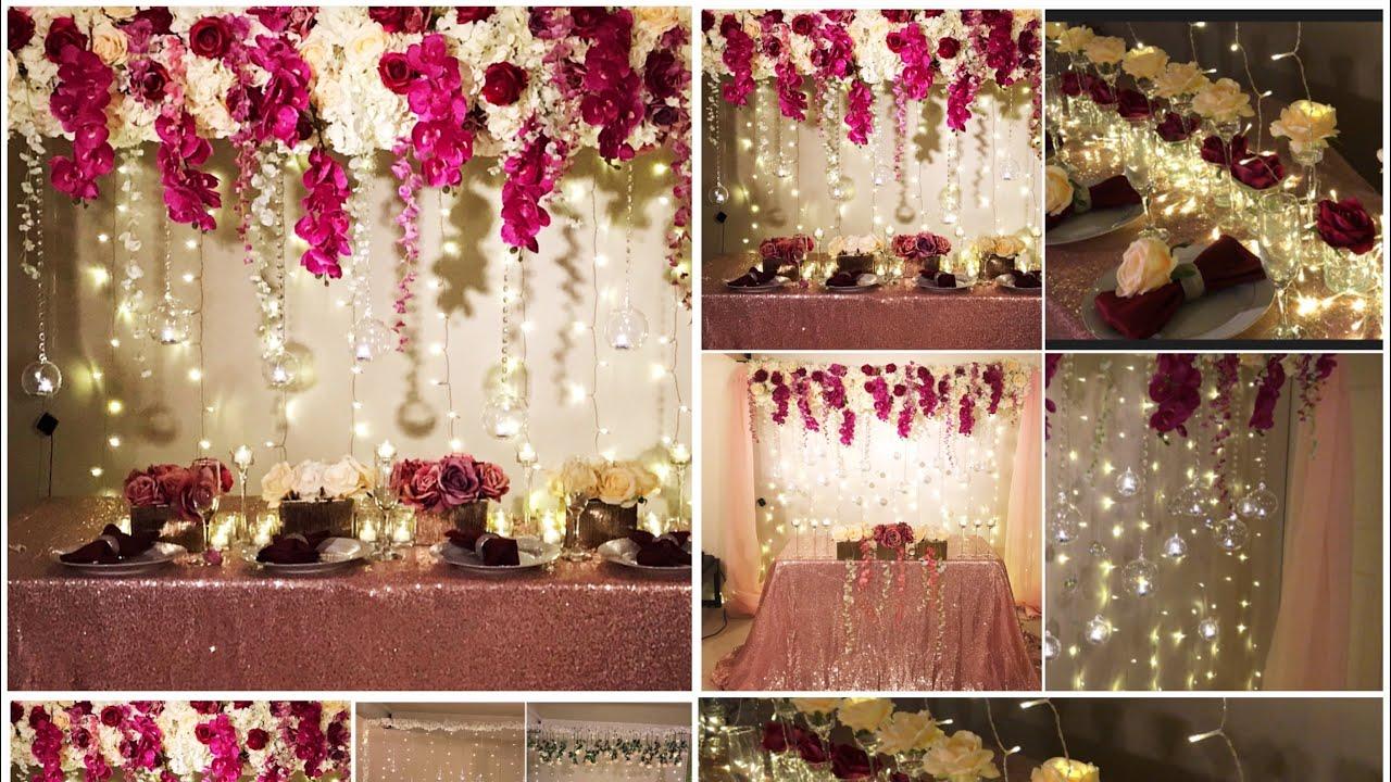 Diy Long Table And Backdrop Decor Diy Wedding Decor Diy Flower Panel Decoration