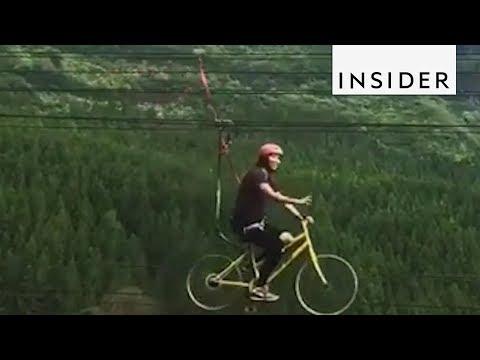 Riding a Bike Zipline