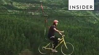 Riding A Bike Zipline Youtube