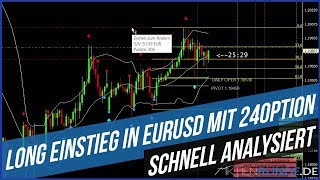 Schnell analysiert - Long Einstieg in EURUSD mit 24Option