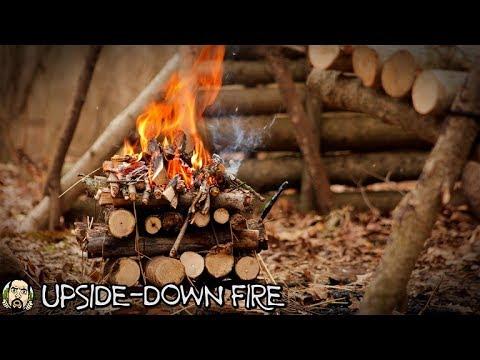 Bushcraft Camp - Upside-Down Fire, Cooking Soup, Second Wall, CHECKIN' INNN!