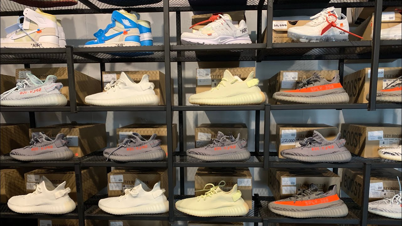 collection store secret pop up shop that sells hype bae sneakers shot w