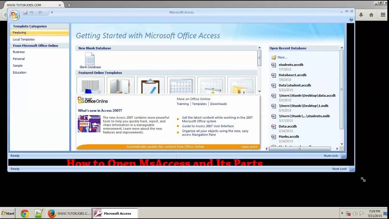 How to Open And Its Parts of Ms Access-2007