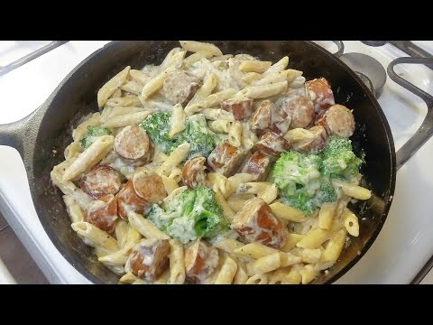Cast Iron Cooking Chicken Smoked Sausage Alfredo Recipe