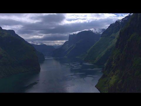 Aurlandsfjorden, Sognefjorden, Leikanger, Sogndal - Flying Over Norway