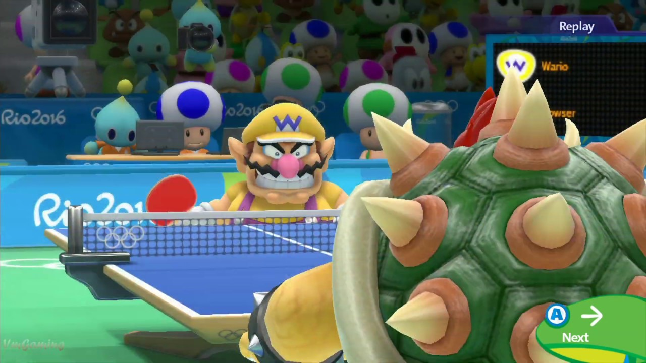 Mario and Sonic at The Rio 2016 Olympic Games- Difficulty Table Tennis Wario vs Bowser