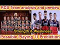 RCB Team Analysis and preview RCB team strength,weakness,possible playing 11 prediction