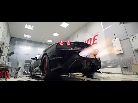 Мощные выстрелы огнем на итоговом замере Ferrari F430 stage 2 / Winde