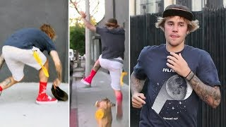 Justin Bieber Jumps Over Fire Hydrant And Loses His Cap Running Away From Photographers At The Spa