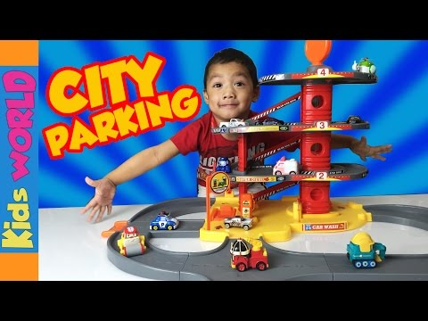 City Cars Parking Garage Playset Toy Review and Unboxing | Charlie's Kids World